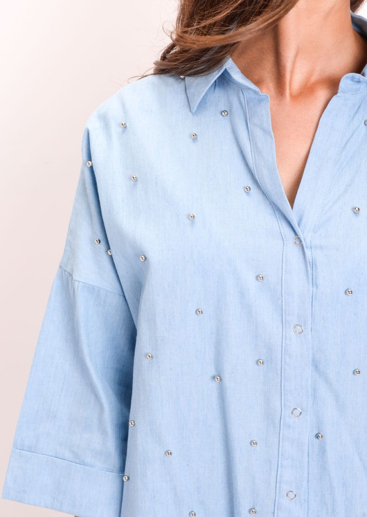 Oversized Stud Denim Shirt Light Blue