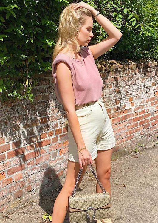 Oversized Tank T shirt Top Beige