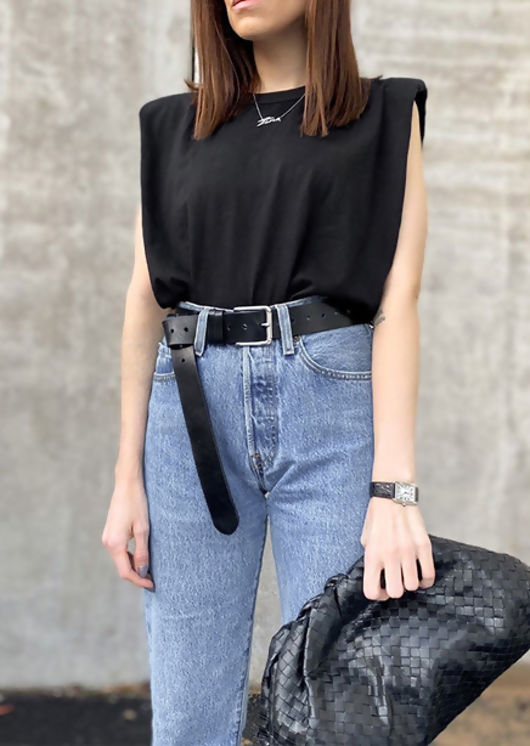 Oversized Tank T shirt Top Black