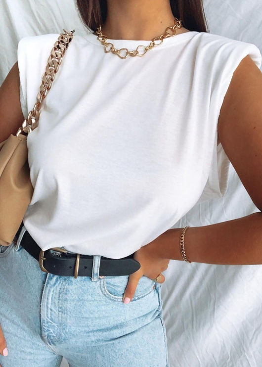Oversized Tank T shirt Top White