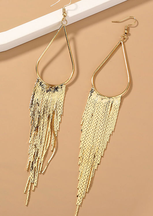 Oversized Tasselled Tear Shaped Hook Earrings Gold