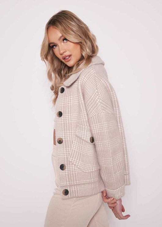 Oversized Fluffy Chunky Knitted Check Print Button Down Shacket Beige