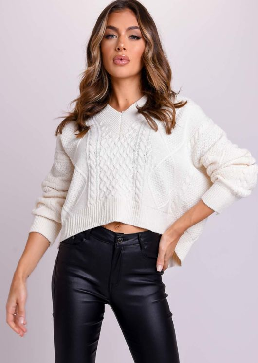 Oversized Tie Back Chunky Cable Knitted Jumper Beige