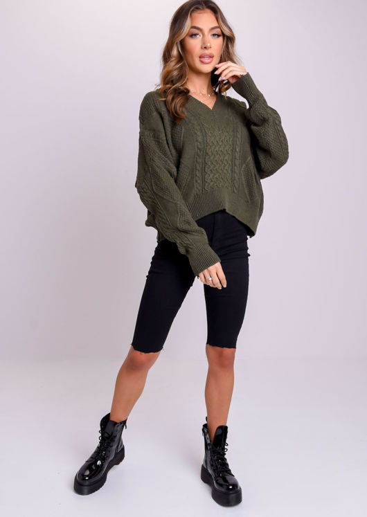 Oversized Tie Back Chunky Cable Knitted Jumper Dark Green