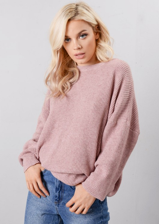 Oversized Tie Back Knitted Jumper Dress Pink