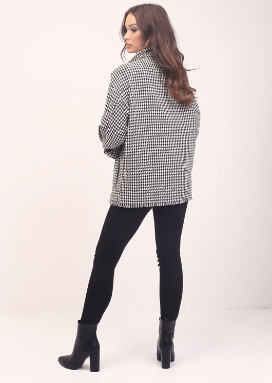Oversized tweed Houndstooth Raw Hem Button Down Shacket Black
