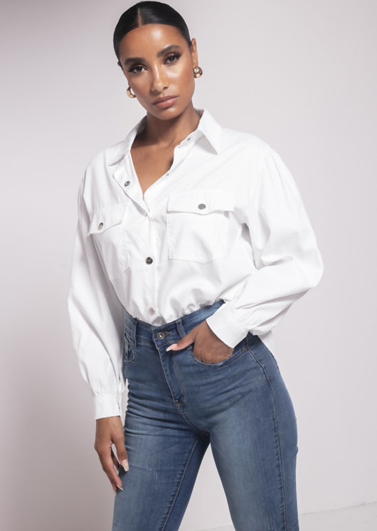 Oversized Utility Long Sleeve Shirt Top White