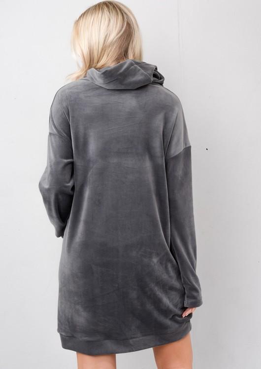 Oversized Velvet Hooded Jumper Dress Grey