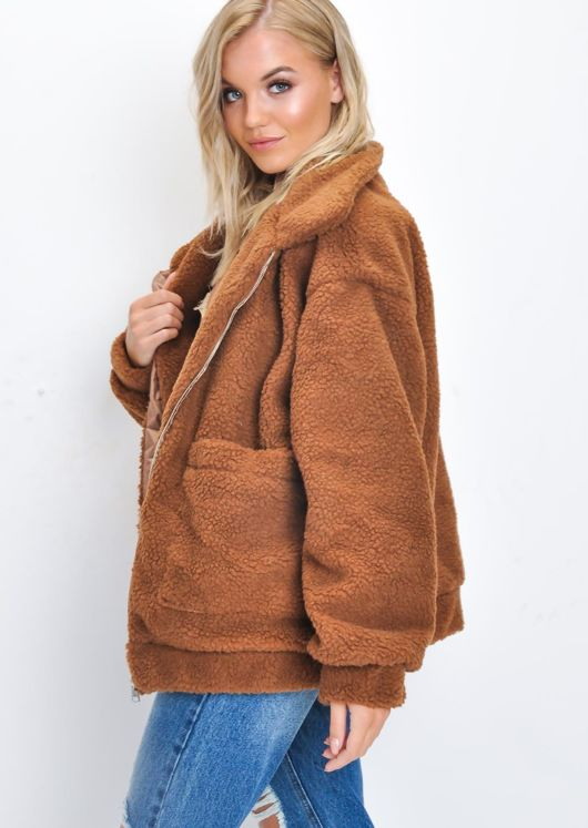 Oversized Zip Up Borg Teddy Trucker Jacket Tan Brown