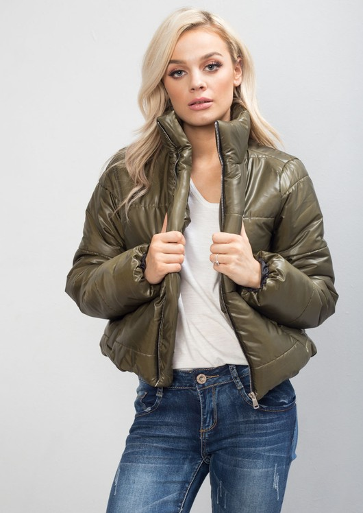 Padded Crop Puffer Jacket Khaki Green