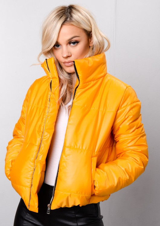 Padded Crop Puffer Jacket Mustard Yellow