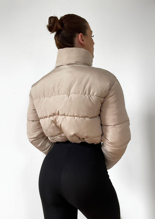 Padded Cropped Puffer Jacket Beige