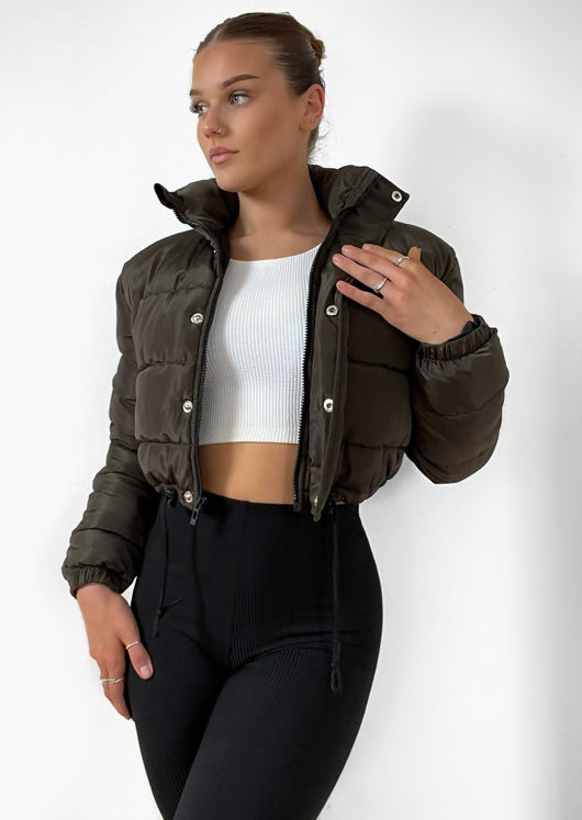 Padded Cropped Puffer Jacket Green