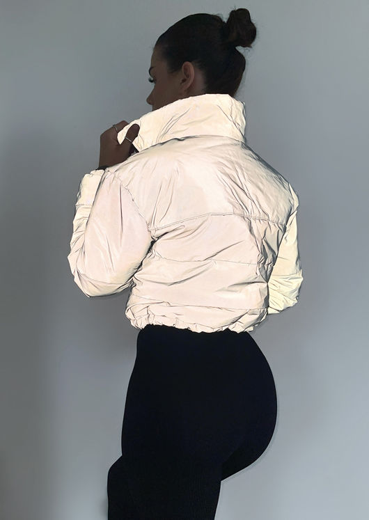 Reflective Padded Cropped Puffer Jacket Grey