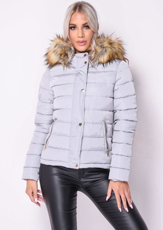 Padded Faux Fur Hooded Quilted Puffer Coat Grey