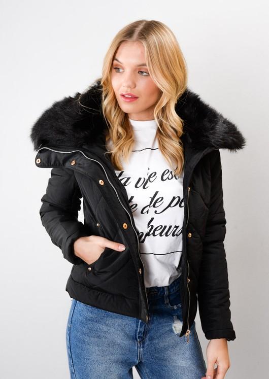 Padded Faux Fur Trim Collar Jacket Coat Black