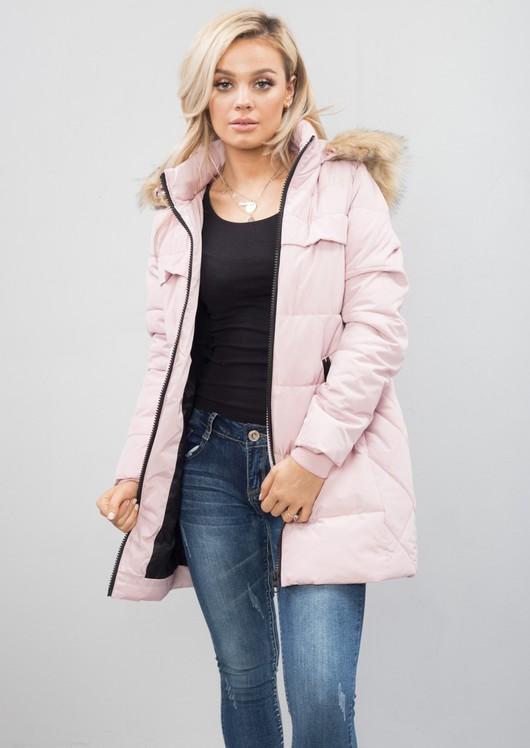 Padded Longline Hooded Puffer Coat Pink