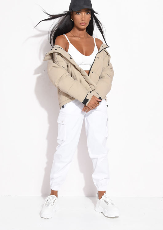 Oversized Padded Quilted High Collar Crop Puffer Jacket Beige