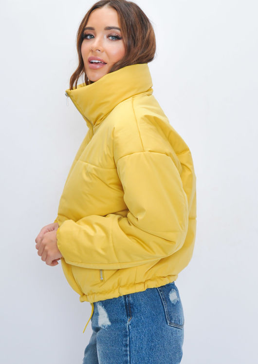 Padded Quilted High Collar Crop Puffer Jacket Yellow