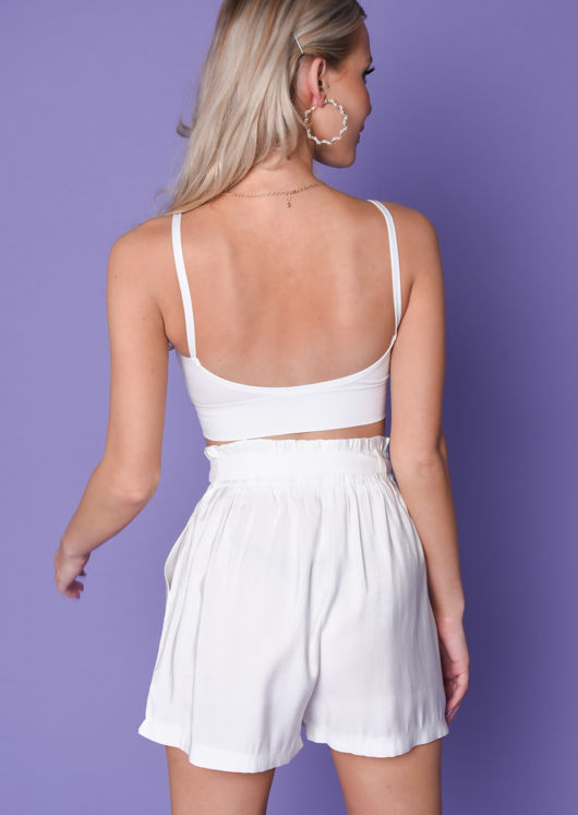 Padded V Neck Bralet Top White