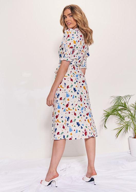Paint Splat Patterned Wrap Over Puff Sleeve Midi Dress Multi