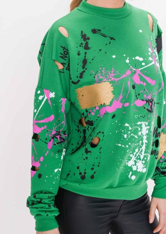 Paint Splatter Distressed Jumper Green