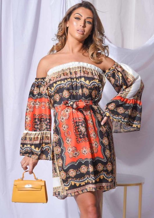 Paisley Off Shoulder Mini Dress Orange