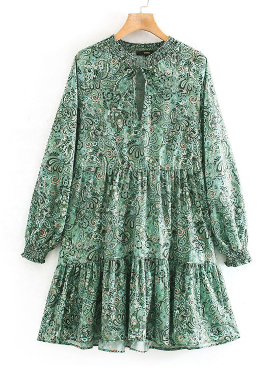 Paisley Print Tiered Smock Dress Green