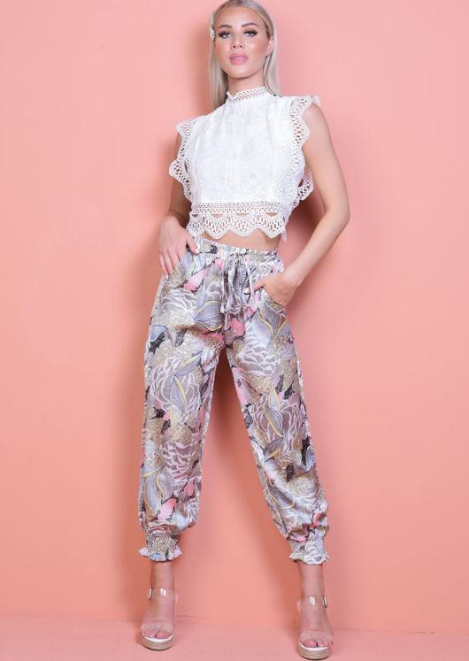 Palm Print Cuff Detail Harem Trousers Multi