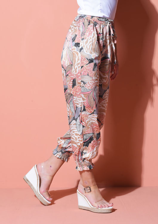 Palm Print Cuff Detail Harem Trousers Orange