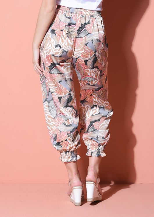Palm Print Cuff Detail Harem Trousers Orange