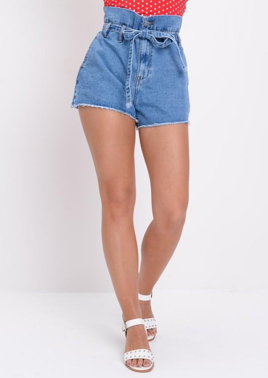 High Waisted Paperbag Belted Frayed Hem Denim Shorts Blue