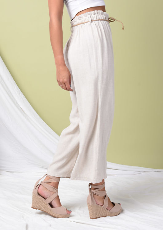 Paperbag Belted Linen Wide Leg Trousers Beige