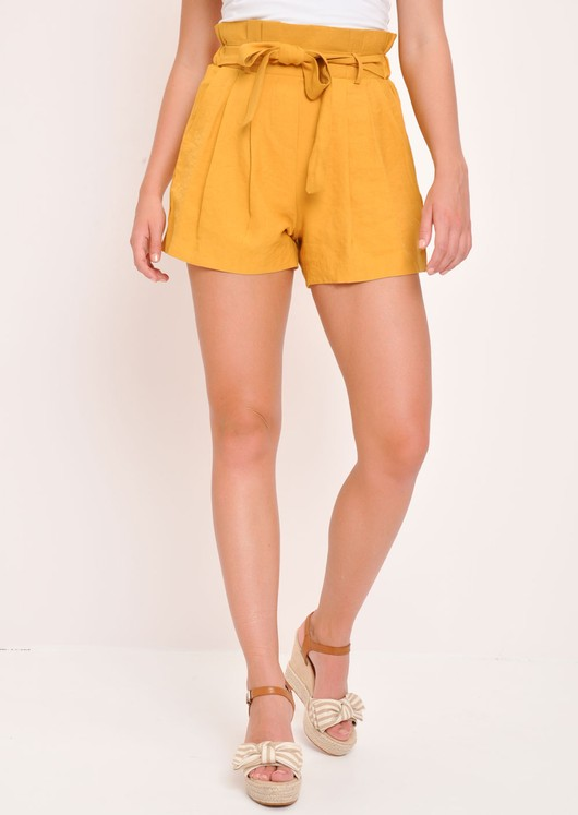 Paperbag High Waist Shorts Mustard Yellow