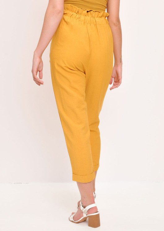 Paperbag High Waisted Linen Trousers Yellow