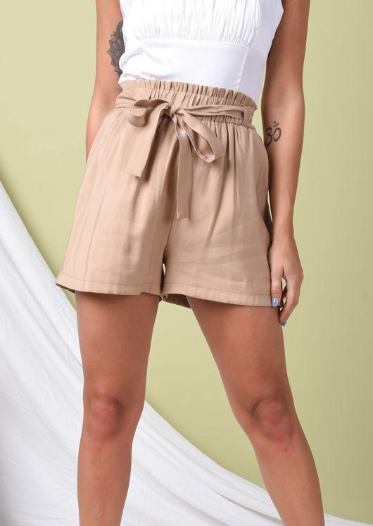 Paperbag Tie Waist Shorts Beige