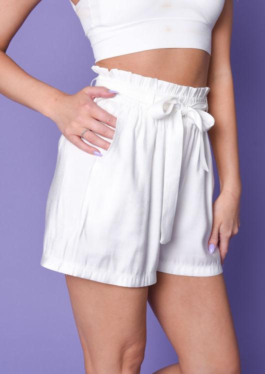 Paperbag Tie Waist Shorts White