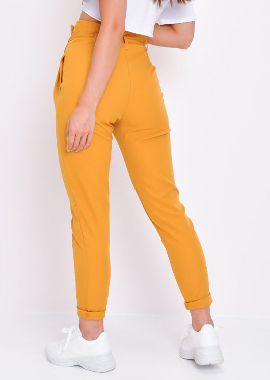 Paperbag Waist Belted Trousers Mustard Yellow