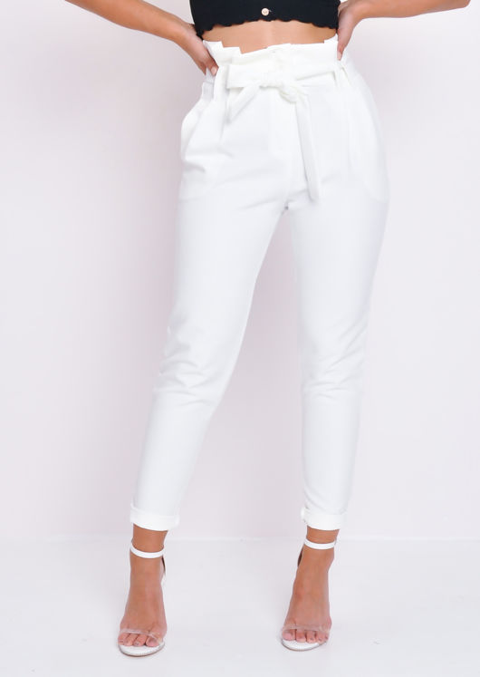 Paperbag Waist Belted Trousers White