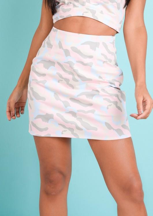 Pastel Camo Mini Skirt Pink