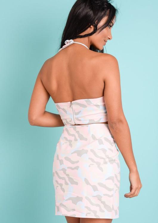 Pastel Camo Halterneck Crop Top Pink