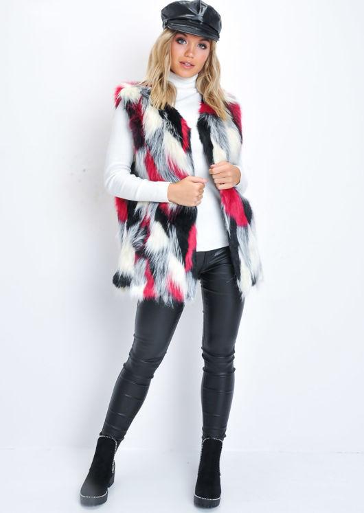 Patchwork Soft Faux Fur Longline Gilet Pink