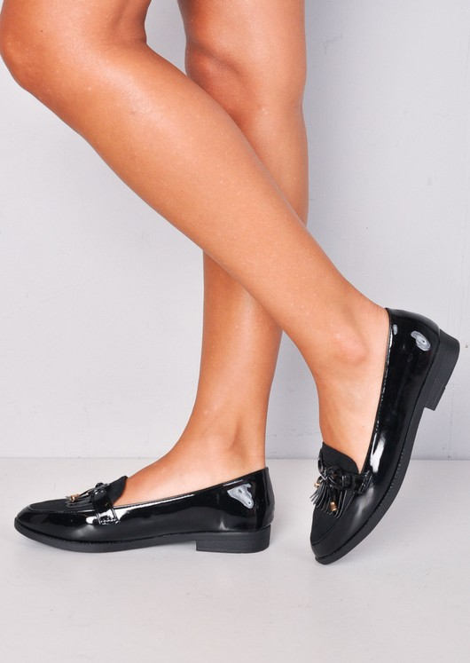 Patent And Faux Suede Contrast Fringed Loafers Black