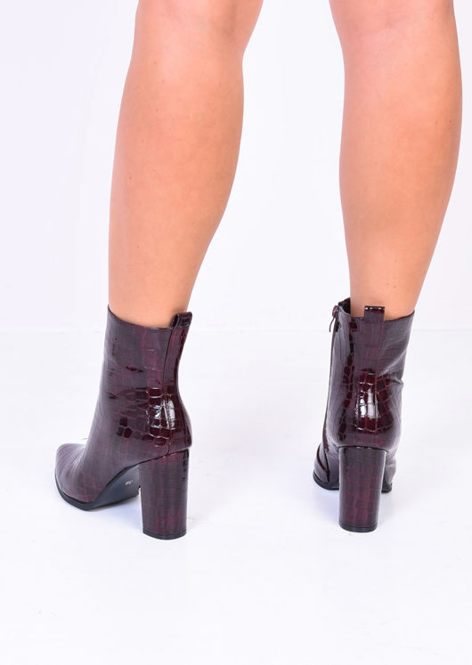 Patent Croc Pointed Block Heel Ankle Boots Burgundy Red