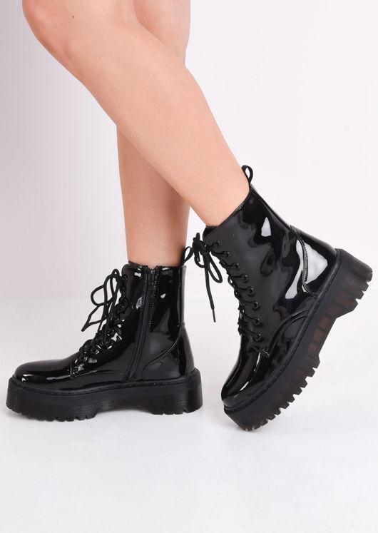 f6e96720c41 Patent Faux Leather Lace Up Platform Combat Ankle Boots Black