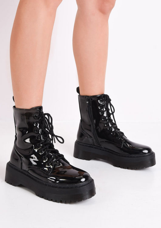 Patent Faux Leather Lace Up Platform Combat Ankle Boots Black