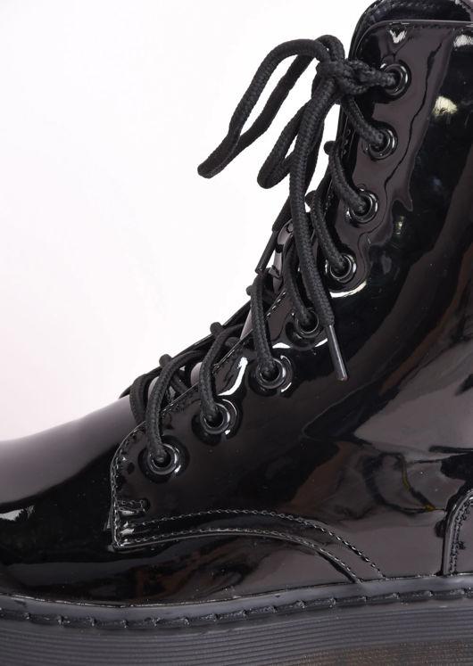 Patent Faux Leather Lace Up Platform Combat Ankle Boots Black