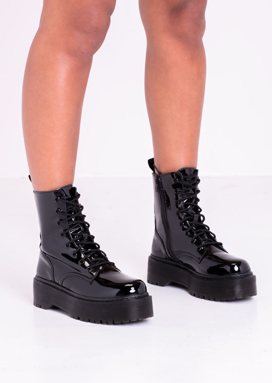 Patent Lace Up Cleated Sole Side Zip Fastening Ankle Boots Black