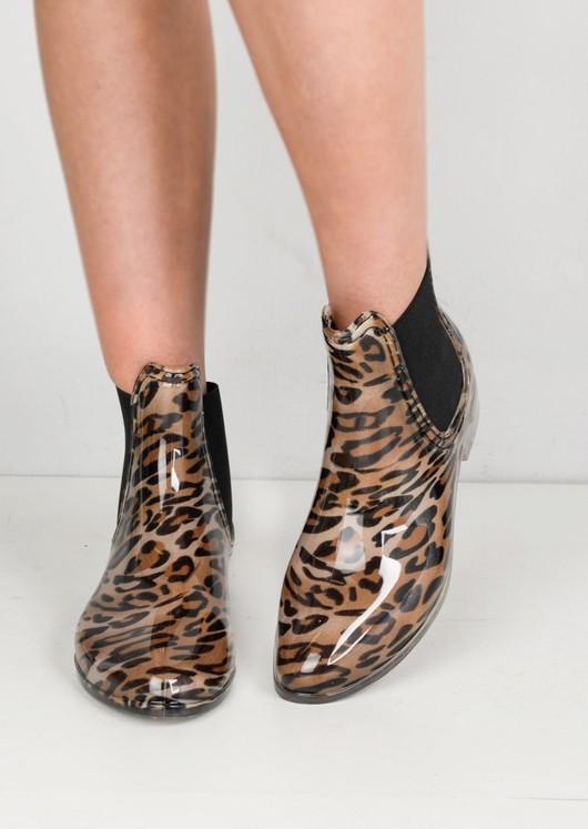 Leopard Print Chelsea Ankle Rain Boots Multi