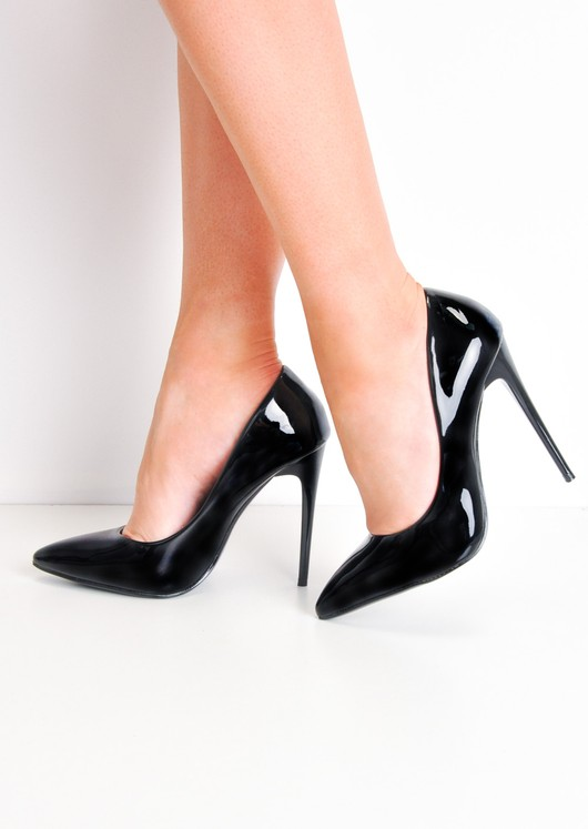 b0f755aa903 Patent Stiletto Pointed High Heels Black
